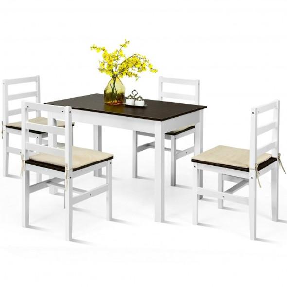 5 Pcs Solid Wood Compact Kitchen Dining Set-Walnut