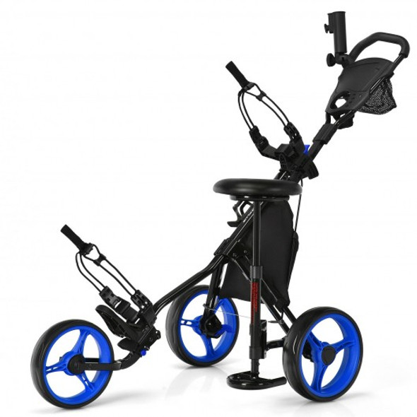 3 Wheels Folding Golf Push Cart with Seat Scoreboard and Adjustable Handle-Blue