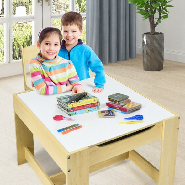 Kids Table Chairs Set With Storage Boxes Blackboard Whiteboard Drawing-Natural