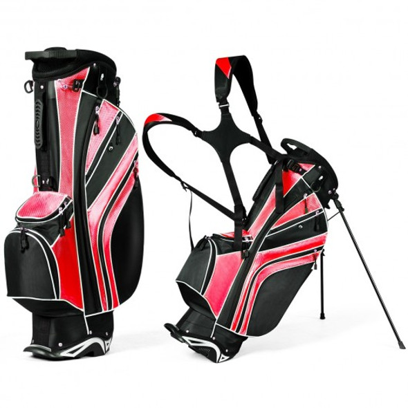 Golf Stand Cart Bag with 6-Way Divider Carry Pockets-Red