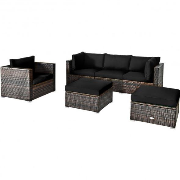 6 Pcs Patio Rattan Furniture Set with Sectional Cushion-Black