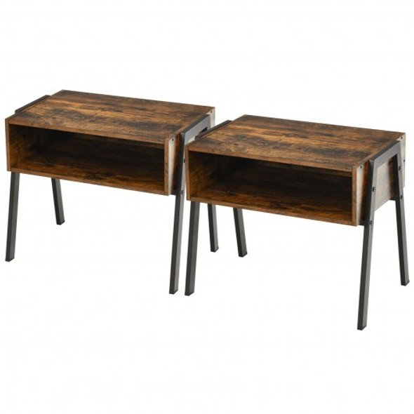 2Pcs Stackable Night Stand Bedside End Table Set