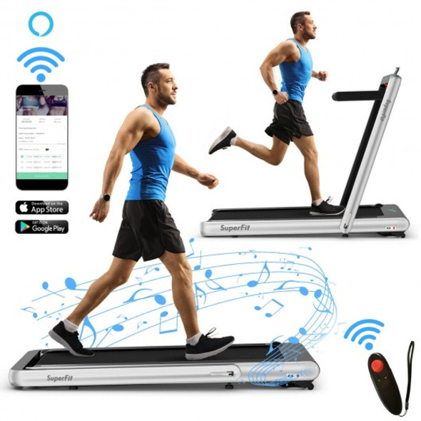 4.75HP 2 In 1 Folding Treadmill with Remote APP Control-Silver