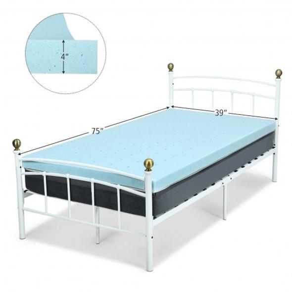"4"" Gel Injection Memory Foam Mattress Top Ventilated Mattress Double Bed-Twin Size"