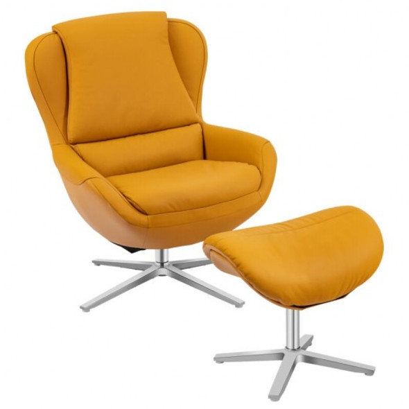 Swivel Top Grain Leather Lounge Armchair Rocking Chair with Ottoman-Yellow