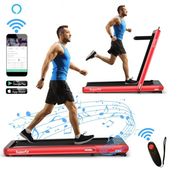 4.75HP 2 In 1 Folding Treadmill with Remote APP Control-Red