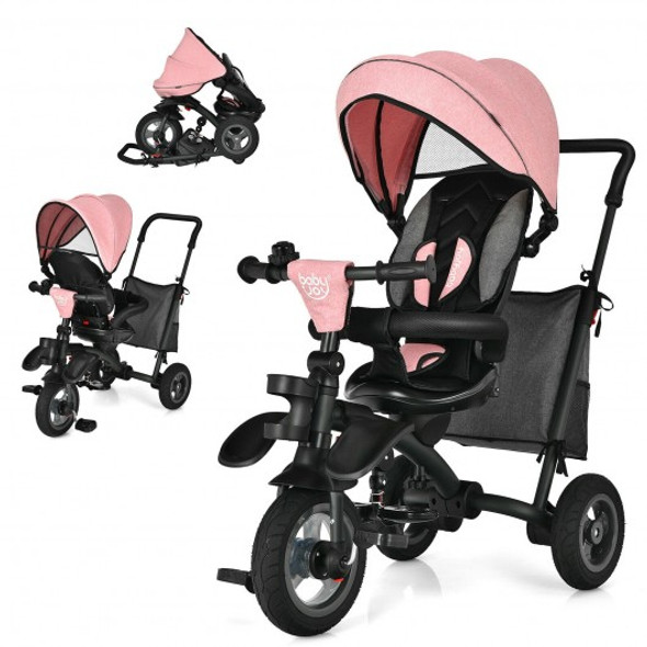 7-In-1 Baby Folding Tricycle Stroller with Rotatable Seat-Pink
