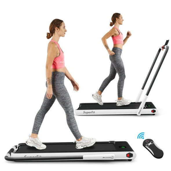 2-in-1 Folding Treadmill with RC Bluetooth Speaker LED Display-White