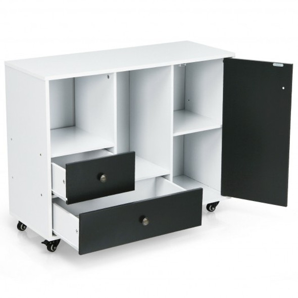 Lateral Mobile Filing Cabinet with 2 Drawers-Black