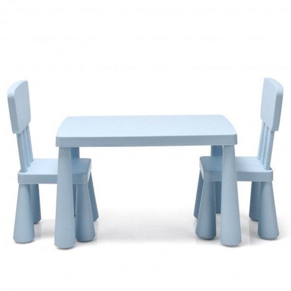 3-Piece Toddler Multi Activity Play Dining Study Kids Table and Chair Set-Blue
