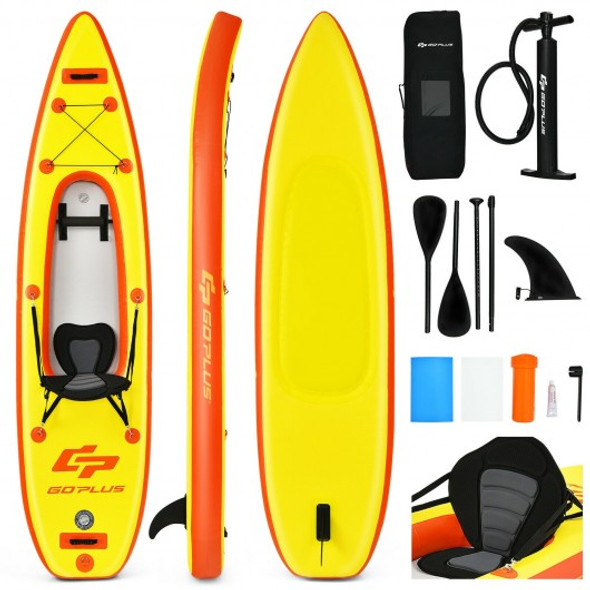 10.8'  Inflatable Kayak Set K1 1-Person Sit-On-Top Kayak with Oars-Yellow