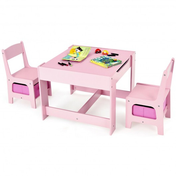 Kids Table Chairs Set With Storage Boxes Blackboard Whiteboard Drawing-Pink
