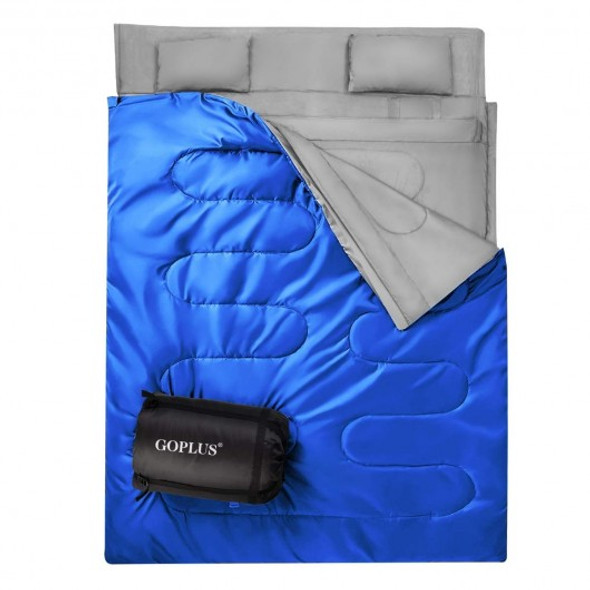 2 Person Waterproof Sleeping Bag with 2 Pillows-Blue