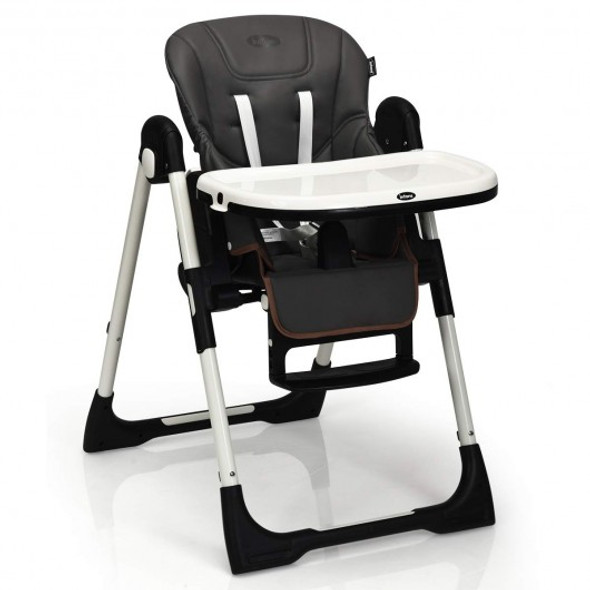 Foldable High chair with Multiple Adjustable Backrest-Dark Gray