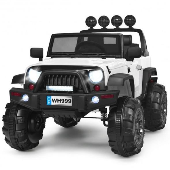 12V Kids Spring Suspension Ride On Truck-White