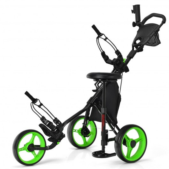 3 Wheels Folding Golf Push Cart with Seat Scoreboard and Adjustable Handle-Green