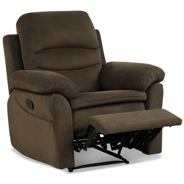 Manual Reclining Single Sofa with Footrest-Brown