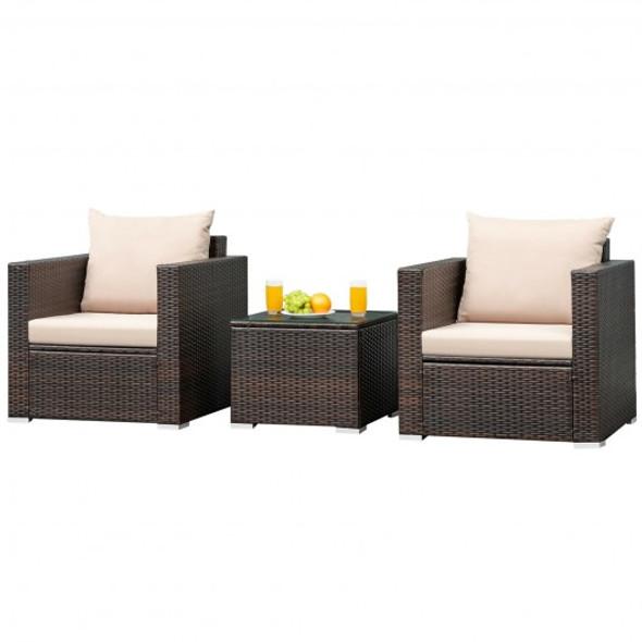 3 Pcs Patio Conversation Rattan Furniture Set with Cushion