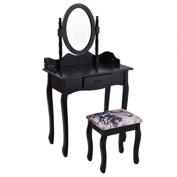 Wooded Vanity Table Set with Oval Mirror and Rotating Mirror-Black