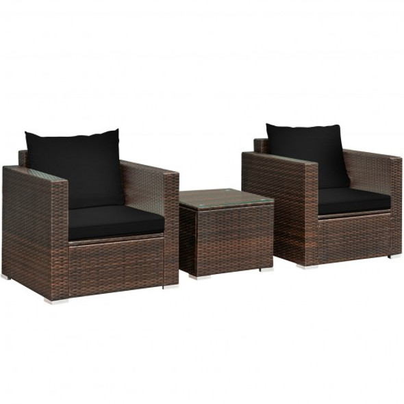 3 Pcs Patio Conversation Rattan Furniture Set with Cushion-Black