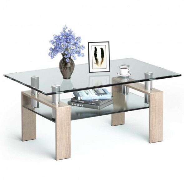 Rectangle Glass Coffee Table with Metal Legs for Living Room-Natural