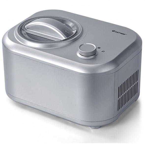 1.1 QT Ice Cream Maker Automatic Frozen Dessert Machine with Spoon-Silver