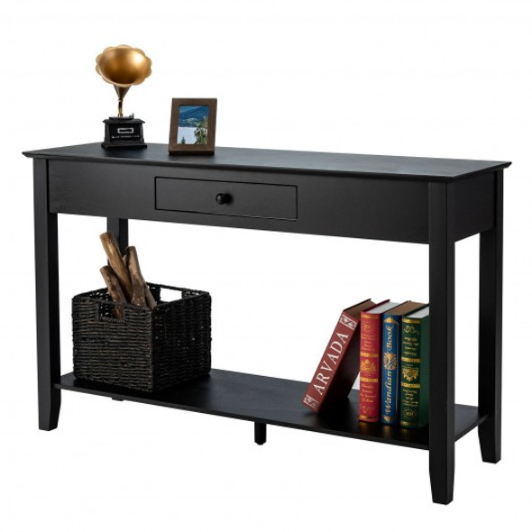 Console Sofa Side Accent Table with Drawer Shelf-Black