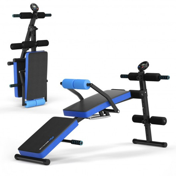 Multi-Functional Foldable Weight Bench Adjustable Sit-up Board with Monitor-Blue