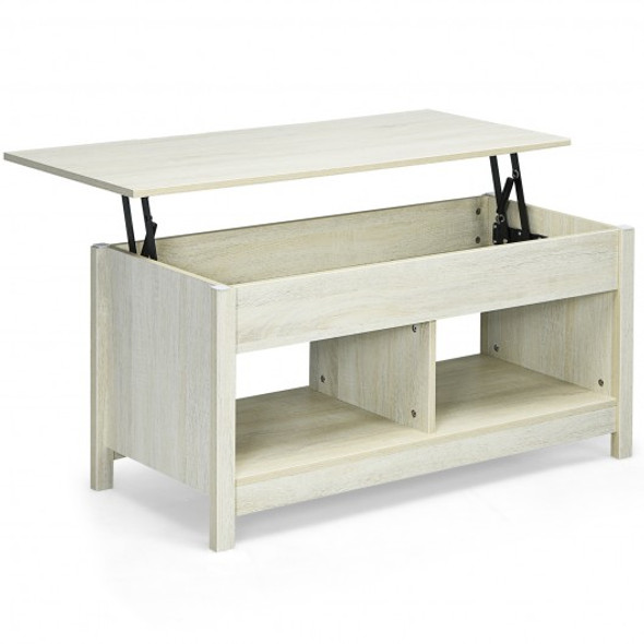 Lift Top Coffee Table with Hidden Storage Compartment and Lower Shelf for Study Room-White