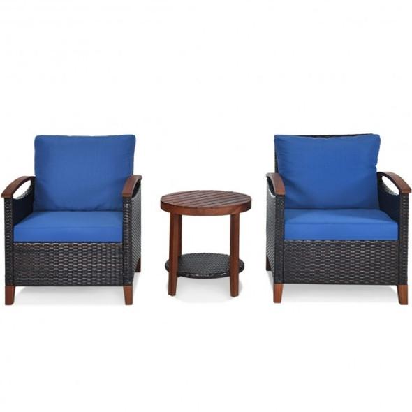 3 pcs Solid Wood Frame Patio Rattan Furniture Set