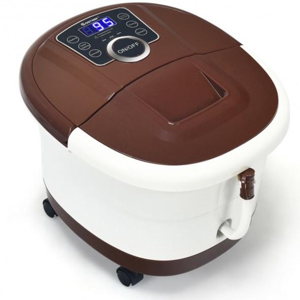 Shiatsu Portable Heated Electric Foot Spa Bath Roller Motorized Massager-Brown