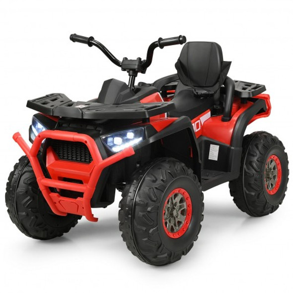 12 V Kids Electric 4-Wheeler ATV Quad with MP3 and LED Lights-Red