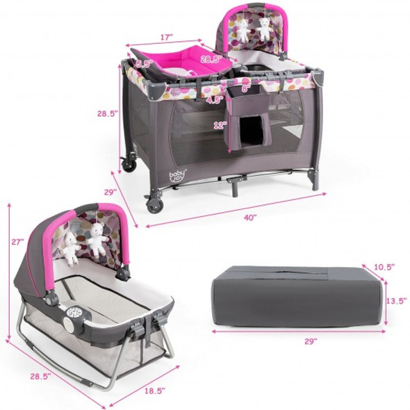 4-in-1 Convertible Portable Baby Playard Newborn Napper with Music and Toys-Pink