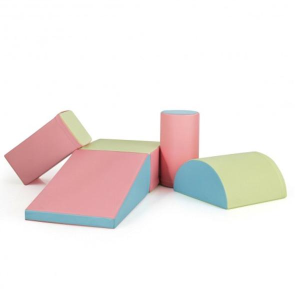 5-Piece Set Climb Activity Play Safe Foam Blocks-Pink