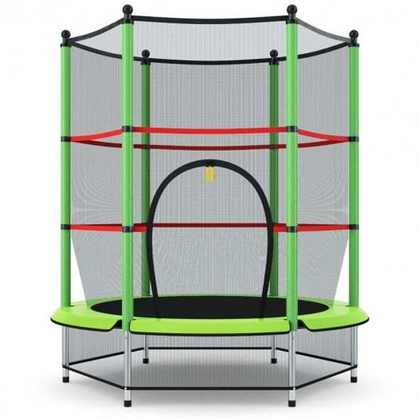 """55"""" Youth Jumping Round Trampoline with Safety Pad Enclosure-Green"""