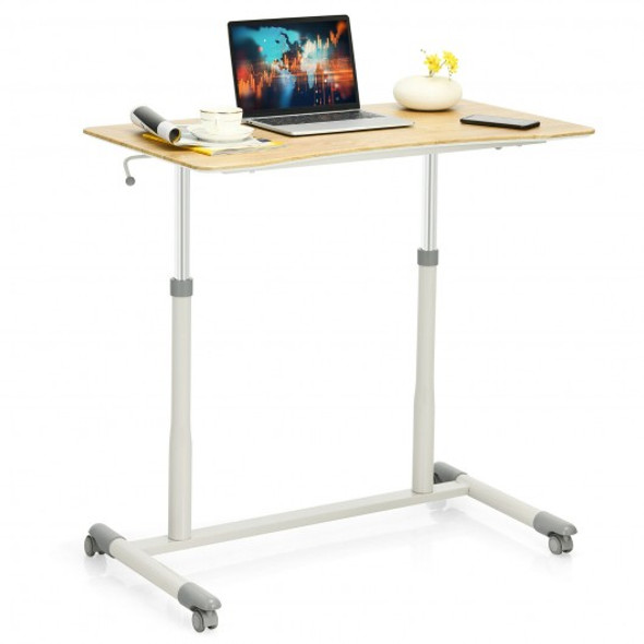 Height Adjustable Computer Desk Sit to Stand Rolling Notebook Table -Natural