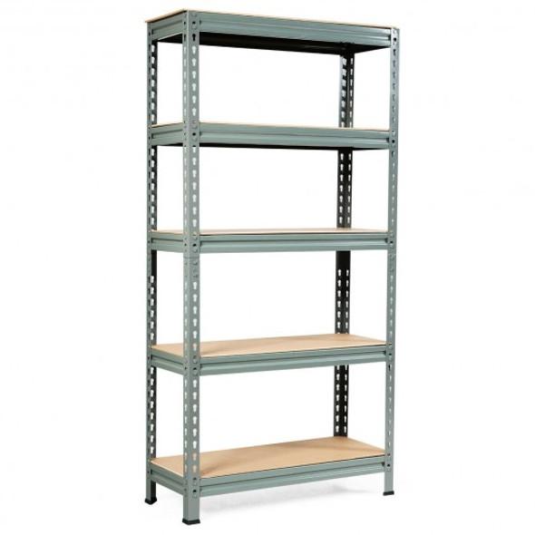 5-Tier Steel Shelving Unit Storage Shelves Heavy Duty Storage Rack-Gray