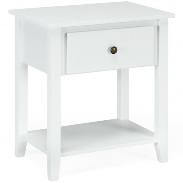 Nightstand with Drawer and Storage Shelf for Bedroom Living Room-Wine