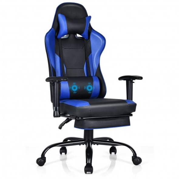 Massage Gaming Chair Recliner with Footrest and Adjustable Armrests for Home and Office-Blue