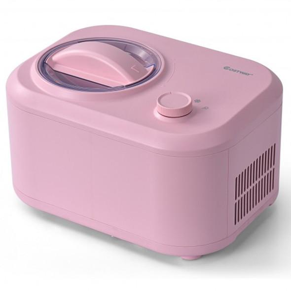 1.1 QT Ice Cream Maker Automatic Frozen Dessert Machine with Spoon-Pink