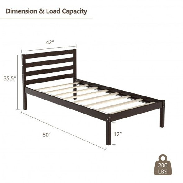 Twin Size Wood Platform Bed Frame with Headboard