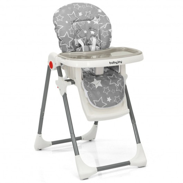 Folding Baby High Dining Chair with 6-Level Height Adjustment-Gray