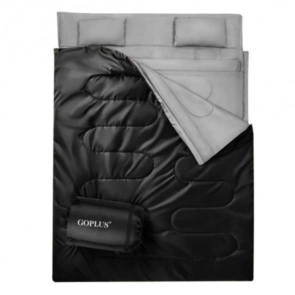 2 Person Waterproof Sleeping Bag with 2 Pillows-Black