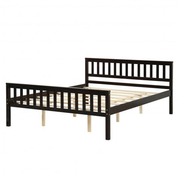 Queen Wood Platform Bed with Headboard