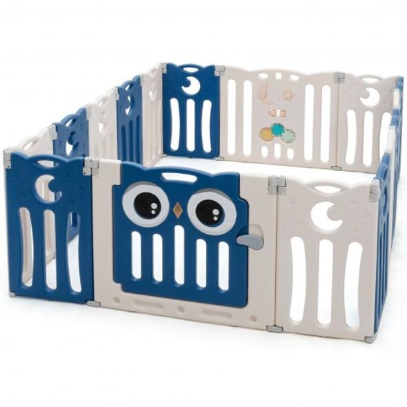 16-Panel Baby Activity Center Play Yard with Lock Door -Blue