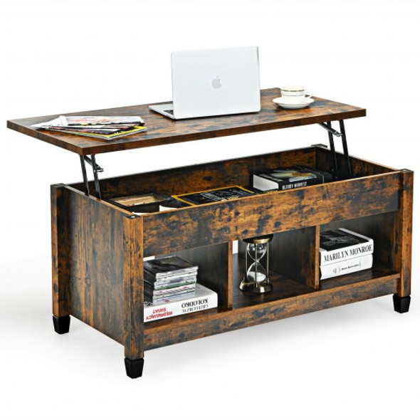 Lift Top Coffee Table with Hidden Storage Compartment- Brown