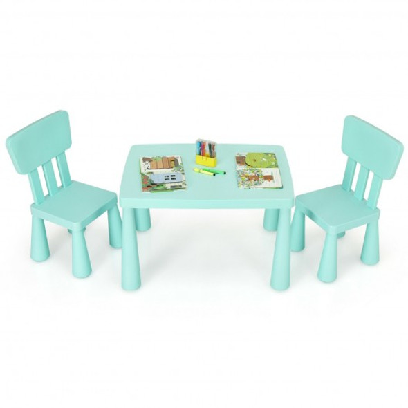 3-Piece Toddler Multi Activity Play Dining Study Kids Table and Chair Set-Green
