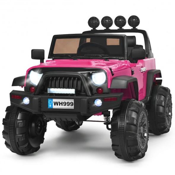 12V Kids Spring Suspension Ride On Truck-Pink