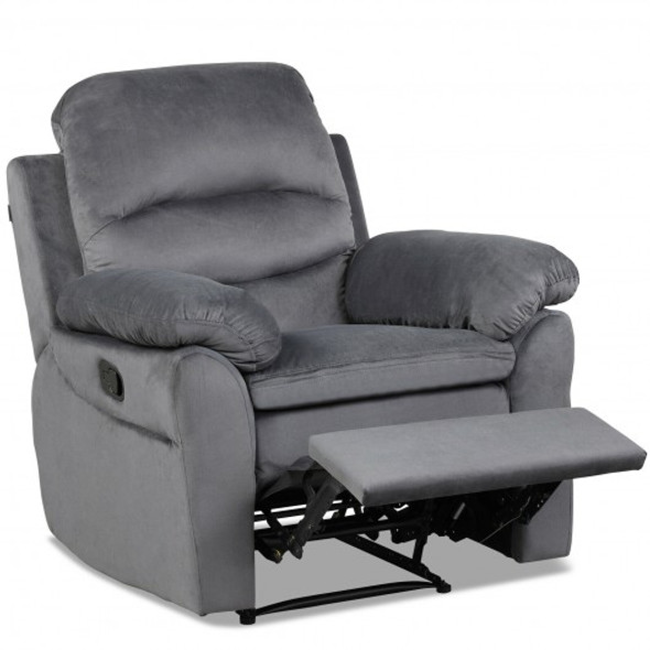 Manual Reclining Single Sofa with Footrest-Gray