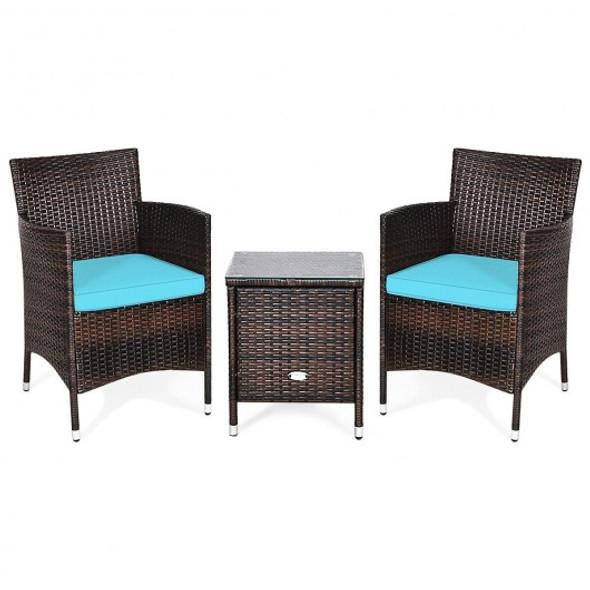 3 Pcs Outdoor Rattan Wicker Furniture Set-Blue